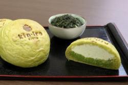 クリームパン専門店「キンイロ」が発売した新茶のクリームパン「kyo・shincha」