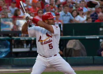 Description: English: Albert Pujols stance in 2006. Date: 16 September 2006 Source: https://www.flickr.com/photos/dherholz/246301261/ Author: Dave Herholz (Wikipedia)