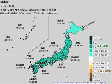 7月~9月の降水量。左から、少ない:平年並み:多いの各確率 出典=気象庁HP