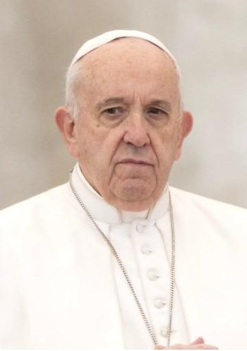 ローマ法王フランシスコ(ゲッティ=共同)