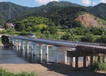 復旧工事が完了した在田橋(福知山市大江町公庄)