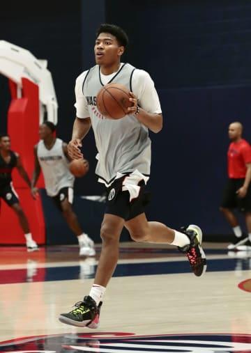 米プロバスケットボールNBA、ウィザーズのミニキャンプに参加した八村塁=25日、ワシントン(共同)