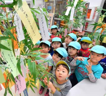 それぞれの願いを記した短冊飾りに見入るかまいしこども園の園児=25日、釜石市鈴子町・JR釜石駅
