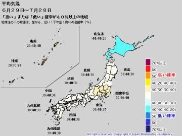 1か月予報 (平均気温) 出典=気象庁ホームページ