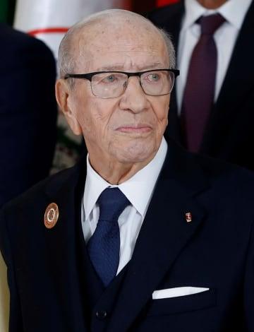 チュニジアのカイドセブシ大統領=3月31日、チュニス(ロイター=共同)