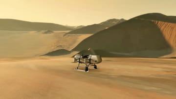 土星の衛星タイタンを調べる探査機ドラゴンフライの想像図(NASA提供・共同)