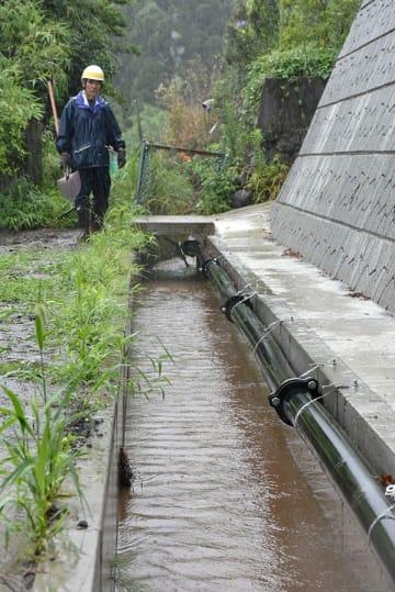 立野地区の農業用水路に約3年2カ月ぶりに水が流れるのを確認する吉野光正新所区長=27日、南阿蘇村