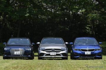 BMW 330i M Sport、Mercedes-Benz C 200 AVANTGARDE、Audi A4 45 TFSI quattro sport(右から)