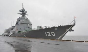 入港した護衛艦「しらぬい」=28日、八戸市
