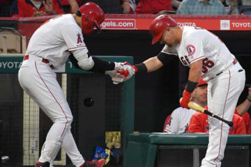 2年連続2桁本塁打を放ったエンゼルス・大谷翔平(左)【写真:Getty Images】