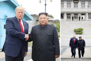 板門店で対面し握手する、トランプ米大統領(左)と北朝鮮の金正恩朝鮮労働党委員長=2019年6月30日(聯合=共同)