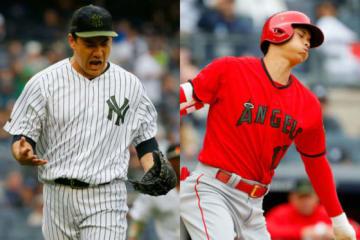 ヤンキースの田中将大(左)とエンゼルスの大谷翔平【写真:Getty Images】