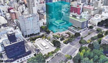 新庁舎を敷地の西側に配置した場合の建設イメージ(河北新報社の独自シミュレーション)