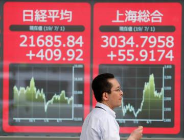 日経平均など株価を示す電光掲示板=1日、東京(ロイター=共同)