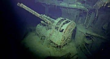 発見された旧日本海軍の重巡洋艦「摩耶」とみられる船体の一部(VULCAN INC.提供・共同)