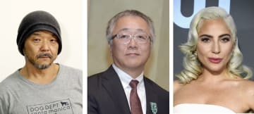 左から押井守氏、大友克洋氏、レディー・ガガさん(ゲッティ=共同)