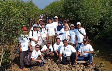 JCBインターナショナル・インドネシアは6月25日、中ジャワ州パティ県沿岸部でマングローブの植林活動を行った(同社提供)