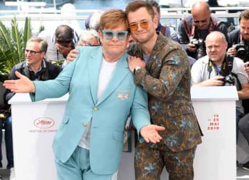 Elton John Poses With 'Rocketman' Star Taron Egerton At 2019 Cannes Film Festival