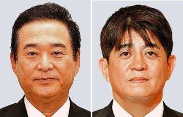 参院選に立候補する安里繁信氏(右)と高良鉄美氏