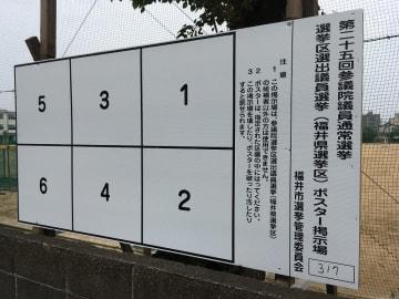 参院選福井選挙区の候補者ポスター掲示板=福井県福井市内