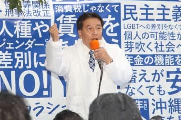 参院選の「第一声」の演説に臨む立憲民主党の枝野幸男代表
