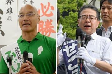 第一声を上げる藤井幹雄候補(左)と世耕弘成候補