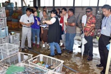 そおリサイクルセンターを視察するミクロネシアからの訪問団メンバーら=大崎町
