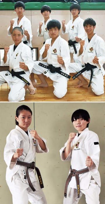 全国大会に出場する少林寺拳法部の選手上が海老名高校、下が有馬高校