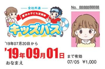 熊本市交通局などが販売する夏休み子ども定期券キッズパス(同局提供)