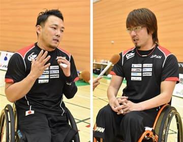 2020年の東京パラリンピックへ意気込みや車いすラグビーの魅力について語る池選手(左)と池崎選手