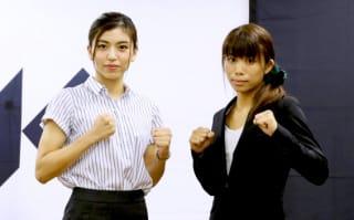 ぱんちゃん璃奈(左)と祥子。ヒールの分もあるが、身長差は小さい両者だが細かいリーチ差分析に至らず