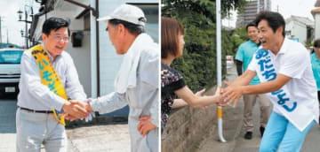 (左)有権者と握手する礒崎陽輔候補=6日午後、玖珠町森(画像を一部加工しています)(右)有権者と話す安達澄候補=6日午前、別府市亀川四の湯町