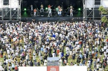 聴衆約4500人が沸いたワンパークフェスティバル=7月6日、福井県の福井市中央公園