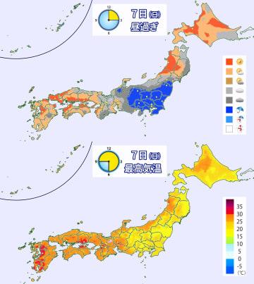 7日(日)昼過ぎの天気分布予想(上)と予想最高気温(下)