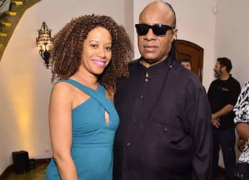BEVERLY HILLS, CA - FEBRUARY 25: Musician Stevie Wonder (R) and Tomeeka Robyn Bracy attend The Dinner For Equality co-hosted by Patricia Arquette and Marc Benioff on February 25, 2016 in Beverly Hills, California. (Photo by Mike Windle/Getty...