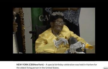 114歳の誕生日を迎えた米最長寿のマーフィーさん。(CBSニュースのキャプチャ)