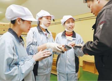 農協職員からアドバイスを受けるガーさん(左から2人目)らベトナム人技能実習生。即戦力として活躍している=秋田県八峰町