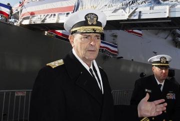 米海軍モラン作戦副部長(当時)=2018年12月、ボストン(米紙ボストン・ヘラルド提供、AP=共同)