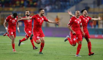 ガーナとのPK戦を5―4で制し、喜ぶチュニジアの選手たち=8日、イスマイリア(ロイター=共同)