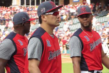 MLB球宴の前日練習に参加したヤンキース・田中将大【写真:編集部】