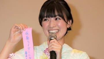映画「GOZEN-純恋の剣-」の公開記念舞台あいさつに登場した優希美青さん