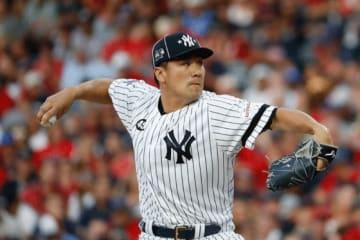 MLBオールスターでア・リーグ二番手として登板したヤンキース・田中将大【写真:AP】