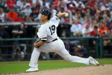 MLBオールスターでア・リーグの二番手として登板したヤンキース・田中将大【写真:AP】