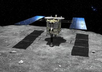 小惑星りゅうぐうに着陸するはやぶさ2の想像図(JAXA提供)