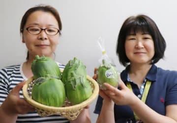 「笹神なす」をPRする生産農家の蕪木緑さん(左)とJAささかみの武仲美智子さん=阿賀野市