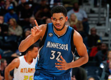 ATLANTA, GA - NOVEMBER 09: Karl-Anthony Towns #32 of the Minnesota Timberwolves reacts after hitting a basket against the Atlanta Hawks at Philips Arena on November 9, 2015 in Atlanta, Georgia. (Photo by Kevin C. Cox/Getty Images)