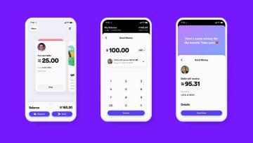 スマートフォンで暗号資産(仮想通貨)「リブラ」を使用するイメージ(フェイスブック提供・共同)