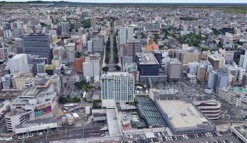 JR仙台駅東口上空から