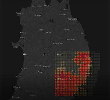 「Starflake forest」で抽出したデータを地図システムにプロット