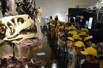 九州初上陸となる肉食恐竜の全身骨格を見学する子どもたち=御船町